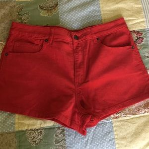 Red corduroy Forever 21 shorts